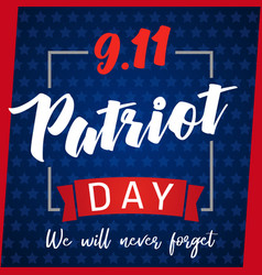 9 11 patriot day greeting card blue stars vector
