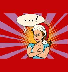 angry santa girl vector image