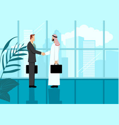 arabic businessman shake hand with western vector image