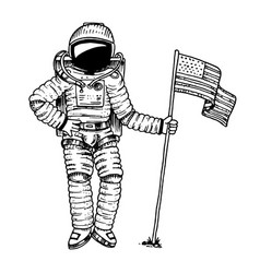 astronaut or spaceman soaring with usa flag vector image