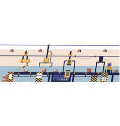 belt conveyor equipped with robotic hydraulic vector image