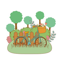 bicycle with floral basket and fence in the vector image