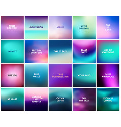 Big set of 20 square blurred purple pink turquoise vector