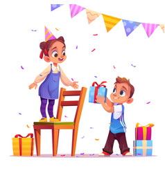 birthday girl receive gift from boy party event vector image