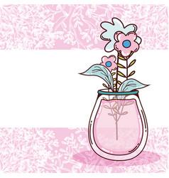 Bouquet of flowers in jar vector