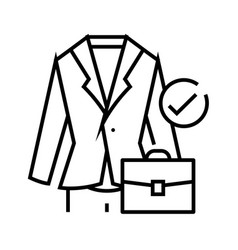 business suit line icon concept sign outline vector image