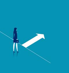 Businesswoman with start line startup vector