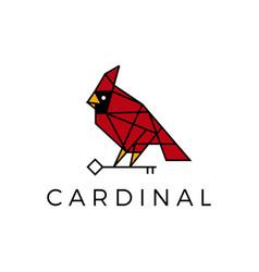 Cardinal bird key geometric polygonal line logo vector