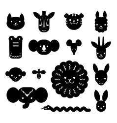 cartoon animal heads bundle modern concept of vector image
