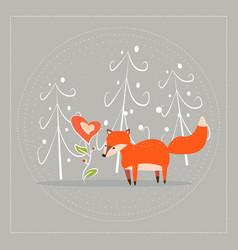 cartoon fun little foxes fox with heart- flower vector image