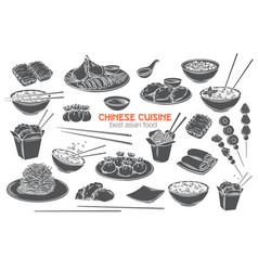 Chinese cuisine monochrome icon set vector