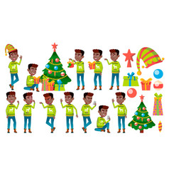 christmas boy poses set black afro vector image