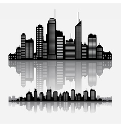 Cityscape skyline buidlings with reflection vector