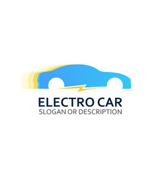 Colorful logo of electro car on white vector