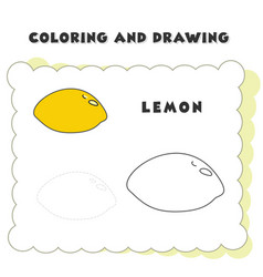 coloring and drawing book element lemon drawing vector image