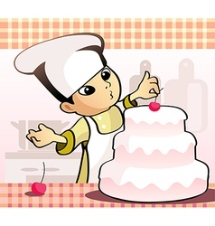confectioner baking a cake vector image