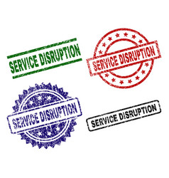 Damaged textured service disruption seal stamps vector
