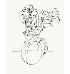 Digital sketch drawing of flower vector