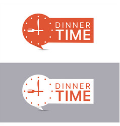 dinner time banners red and white labels vector image