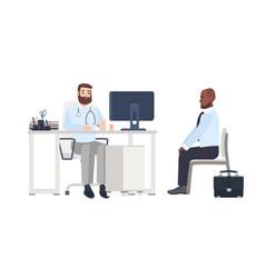 Doctor or medical adviser sitting at desk with vector