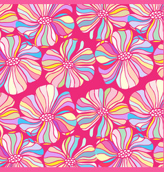 doodle flowers on a pink background colorful vector image