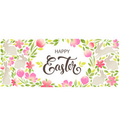 easter bunny with floral ornaments happy easter vector image