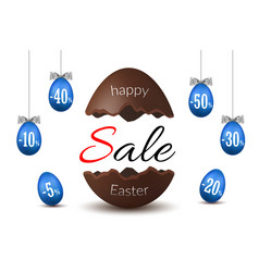 easter egg text sale chocolate happy easter egg vector image