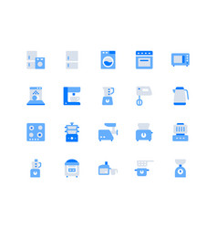electronic kitchen devices simple flat icons vector image