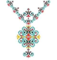 Ethnic necklace Embroidery for fashion vector