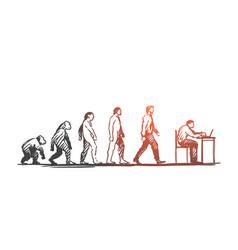 evolution businessman programmer primitive vector image