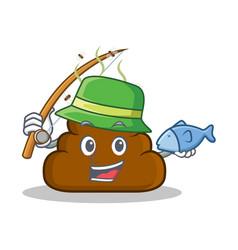 Fishing poop emoticon character cartoon vector