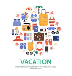 Flat beach vacation concept vector