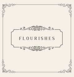 flourishes frame vintage ornament greeting card vector image