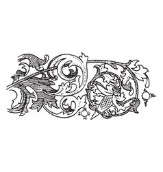 fourteenth century illumination ornaments border vector image