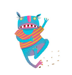 Funny colorful running scared monster vector