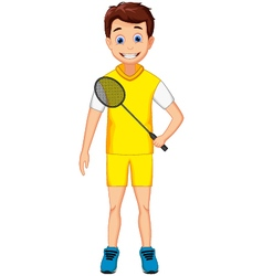 funny young boy holding badminton racket vector image