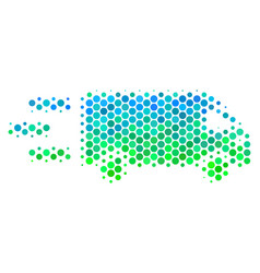 Halftone blue-green fast delivery car icon vector