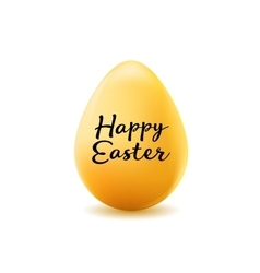 Happy easter poster realistic yellow egg without vector