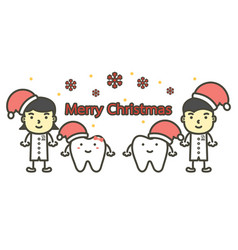 Happy tooth and dentist wearing santa claus hat vector