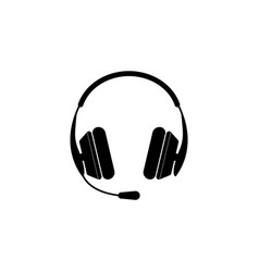 headphone icon black on white vector image
