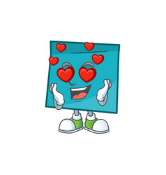 In love blue rectangle sticker paper on white vector