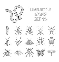 insects set icons in outline style big collection vector image
