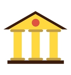 Justice court building icon flat style vector