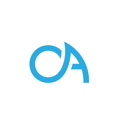 Letters ao simple blue wave line logo vector