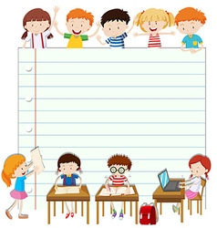 Line paper design with children in classroom vector