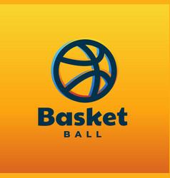 logo basket line art style vector image