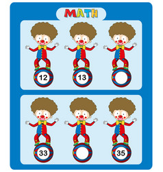 Math worksheet template with circus clowns vector
