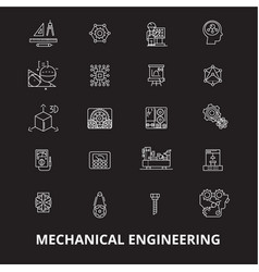 mechanical engineering editable line icons vector image