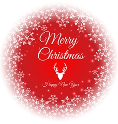 Merry christmas and happy new year text on snow vector image