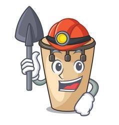 Miner conga mascot cartoon style vector